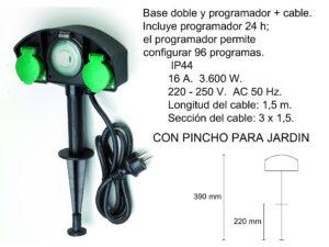 PINCHO JARDIN CON BASE DOBLE Y PROGRAMADOR