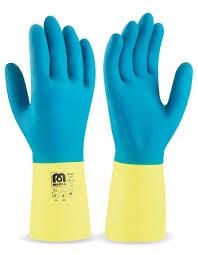 guante neopreno azul-amarillo t-mediana